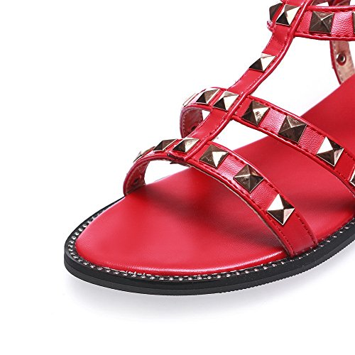 Sandals Marking Non Flats Flats AdeeSu Studded Red Womens Urethane Sandals SLC03859 FSp8xqqgwX