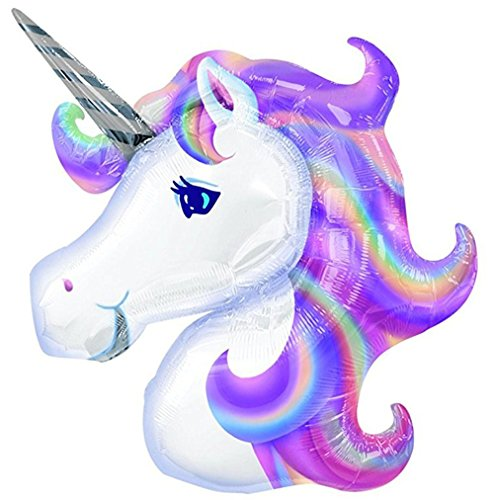 AFZMON Unicorn Shape Mylar/Foil Balloon 【 with a Pair of Curly Ribbon 】 Party Supplies Float Birthday Birthday Party Balloons. by Ten Tree