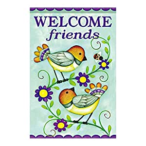 LDJ Welcome Friends Cute Birds Stand On The Flower Vine Double Sided Decorative Flags 100% Polyester And Waterproof,Fade,And Mildew Resistant, Custom Garden Flags 12.5 X 18 Inch Banner Home Flags Print Flags