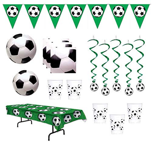 Soccer Party Supplies Tableware for 16 Guests With Pennant Banner Whirls With Cutouts Table Cover ()