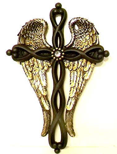 Angel Wings Accents Cross with Brown Twisted Cross