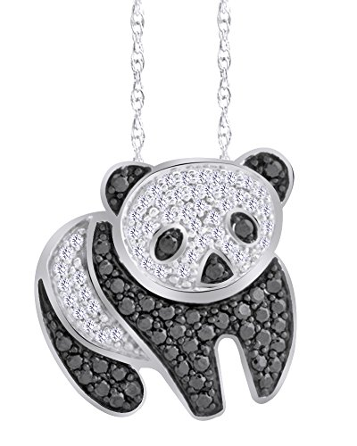 Wishrocks Christmas Holiday Sale 1/2 CT Black & White Diamond Panda Bear Pendant Necklace in 14K White Gold Over Sterling Silver