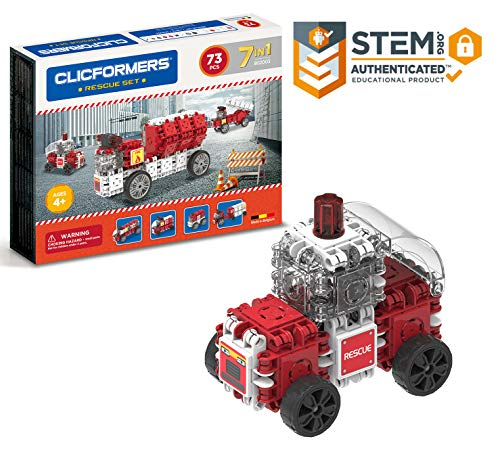 Clicformers Rescue 73Pc, Rainbow colors, wheels, Construction STEM Toy Set Ages 4+