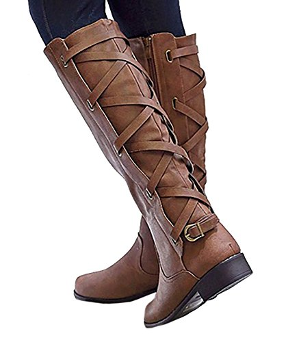 Dress Zip Womens Boots (Syktkmx Womens Lace Up Strappy Knee High Leather Winter Low Heel Side Zip Riding Boots (11 B(M) US, Brown))