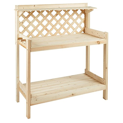 Solid Pine Lattice-Back Potter's Bench by Nantucket ()