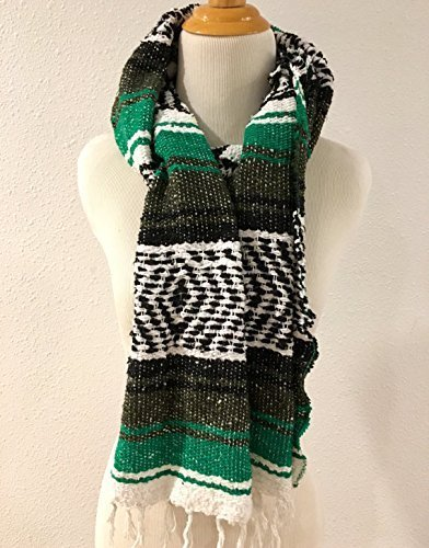 Mexican Blanket Serape Scarf Green Black White