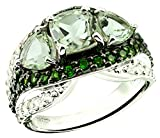 6.76 Carats Green Amethyst with White Topaz Rhodium-Plated 925 Sterling Silver Ring, 3-Stone Style (7)
