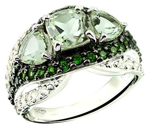 6.76 Carats Green Amethyst with White Topaz Rhodium-Plated 925 Sterling Silver Ring, 3-Stone Style (7) by RB Gems