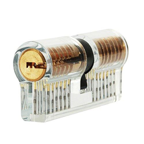 LOMATEE Schließzylinder Zylinderschloss transparent Lockpicking Übungsschloss Übungszylinder mit 2 verschiedenen Schlüsseln für Anfänger Schlosserei Polizei zur Übung