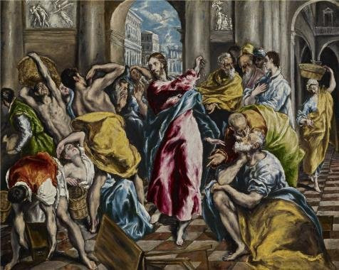 The Perfect Effect Canvas Of Oil Painting 'El Greco (Domenikos Theotokopoulos)- Purification Of The Temple, C. 1600' ,size: 18x23 Inch / 46x57 Cm ,this Best Price Art Decorative Canvas Prints Is Fit For Nursery Decoration And Home Gallery Art And Gifts