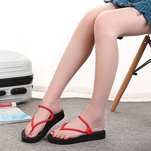 Fheaven Kvinnor Låg Plattform Platta Skor 2 I En Flip Flops Sandaler Toffel Tillfälliga Sandaler Rött