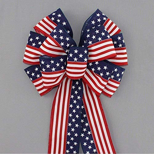 Stars and Stripes Patriotic Flag Bow - 13 inches wide