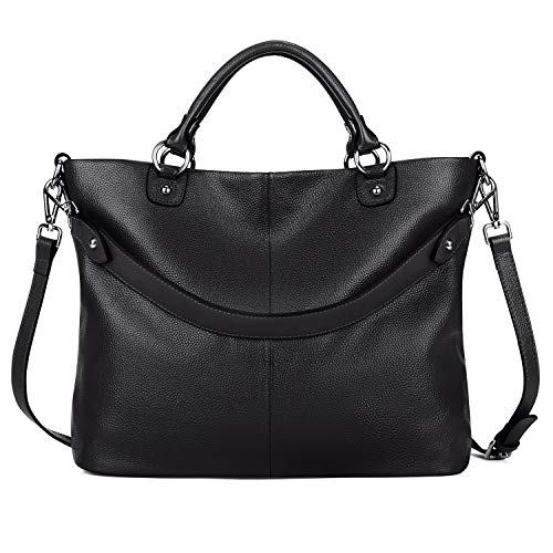 Kattee Women's Soft Genuine Leather 3-Way Satchel Tote Handbag Black