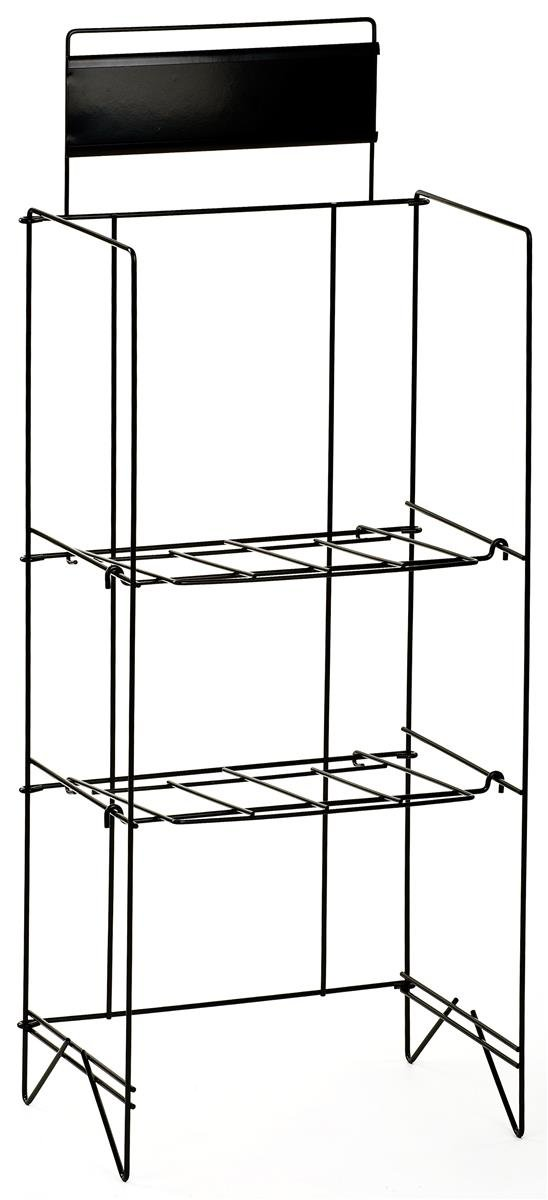 Displays2go 46-Inch Wire Newspaper Stand with 2 Height-Adjustable Shelves, Free-Standing with 14 x 4 Inches Nameplate, Black (NRWREGTWO)