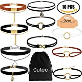 Outee 10 PCS Black Choker Necklace Set Velvet Necklace Choker for Women and Girls