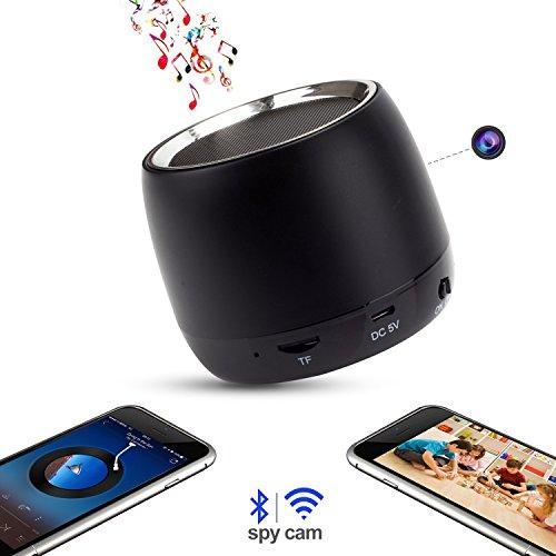 Wifi HD 1080P Spy Camera Bluetooth Speakers Hidden Camera Music Player with IR Night Vision Wireless Mini Video Recorder Nanny Cam Via Free APP ()