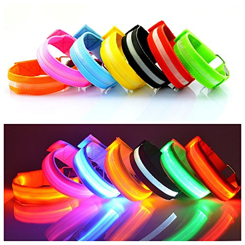 Namsan LED High Visibility Armband,Safely Flashing Armband for Walking/Running,Children Safe,Night Cycling Jogging,Outdoor Hip-Hop Performances Props Bracelet,7 Colors Available