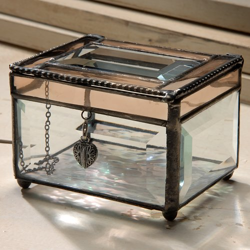 J Devlin Box 583 Beveled Glass Jewelry Keepsake Box with Champagne Trim and Heart Charm