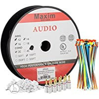 Maximm Direct Burial Speaker Wire - 100 Feet - 14AWG CL3 Rated 2-Conductor Wire Black 99.9% Oxygen Free Copper - Banana plugs, Cable clips and ties Included