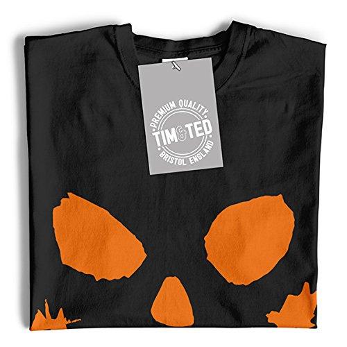 Tim and Ted Spaventoso Zucca Volto di Halloween Jack O Lantern Horror Fantasy Fantasma T-Shirt da Donna