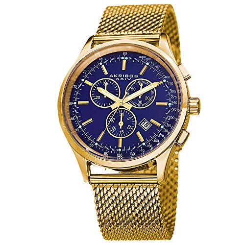 Black Bracelet Round Dial Watch - Akribos XXIV Men's Multifunction Watch - 3 Subdials Round Black Dial Chronograph Quartz Watch On a Mesh Bracelet - AK625 (Blue)