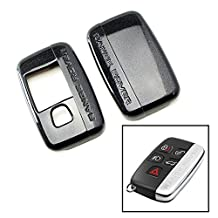 iJDMTOY (1) Exact Fit Glossy Metallic Black Smart Key Fob Shell Cover For 2010-2015 Land Rover 5-Button Key Fit Ranger Rover Sport, Range Rover, LR4, Evoque, etc