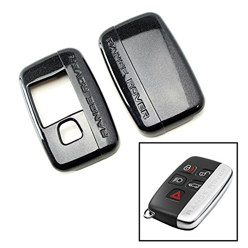 iJDMTOY (1) Exact Fit Glossy Metallic Black Smart Key Fob Shell Cover For 2010-2016 Land Rover 5-Button Key Fit Ranger Rover Sport, Range Rover, LR4, Evoque, etc