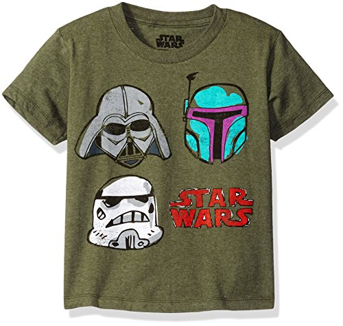 Star Wars Little Boys' Darth Vader, Boba Fett, Stormtrooper T-Shirt, Forest Green Heather, 5/6