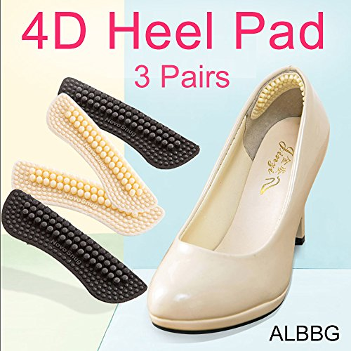 Slip Heels (Heel Pad Too Big Inserts Shoes Cushion ( 3 Pairs ) Non-slip Mat Liner Prevent Blisters New Shoes Women's 4D Only Black Beige Pink (Black))