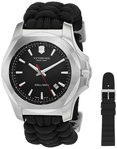 Victorinox Men's 'I.N.O.X' Swiss Quartz Stainless Steel and Nylon Casual Watch, Color:Black (Model: 241726.1)