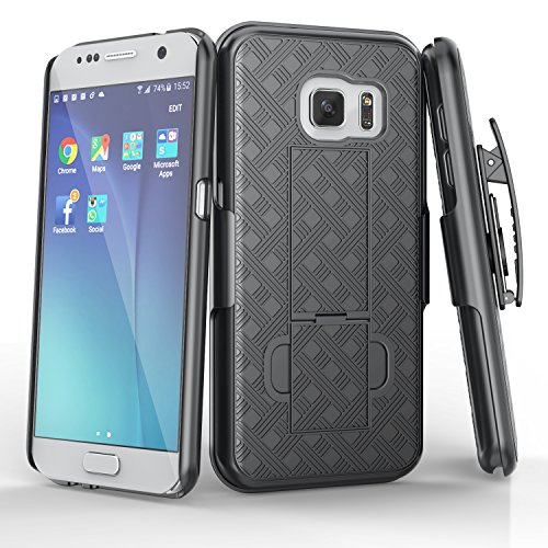 Galaxy S7 Case, TILL [Thin Design] Holster Locking Belt Swivel Clip Non-slip Texture Hard Shell [Built-In Kickstand] Combo Case Defender Cover For Samsung Galaxy S7 S VII G930 GS7 All Carriers [Black] (Stand Holster Combo)