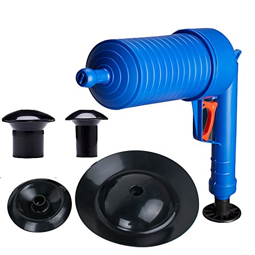 Zorvo High pressure Drain Pump Pipe Dredge Cleaning Tool Dredging Home plunger for Unclog Toilet Bathtub Sink Floor Drain Cleaner Blaster with 4 Blocked Head