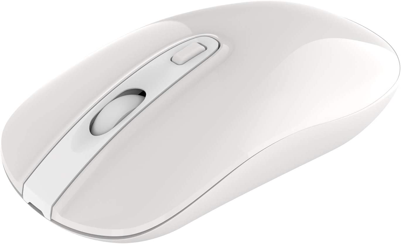 Wireless Bluetooth Mouse, Cimetech Rechargeable Cordless Mouse Dual Mode 4.0/2.4G Slim Ergonomic Mouse for Laptop with USB Nano Receiver, 3 Adjustable DPI 2400/1600/1200 (Dual-Mode White)