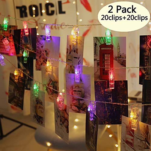Areskey 2 Pack 10 ft 20 Colorful LED Photo Clips String Lights Battery Operated Fairy String Lights with Clips for Hanging Pictures, Cards, Artwork (Multicolor)