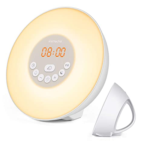Wake Up Light Alarm Clock With Sunrise Simulation Led Usb Bedside Lamp Rechargeable Touch Sensor Night Light Colours Are Striking Led Night Lights Lights & Lighting