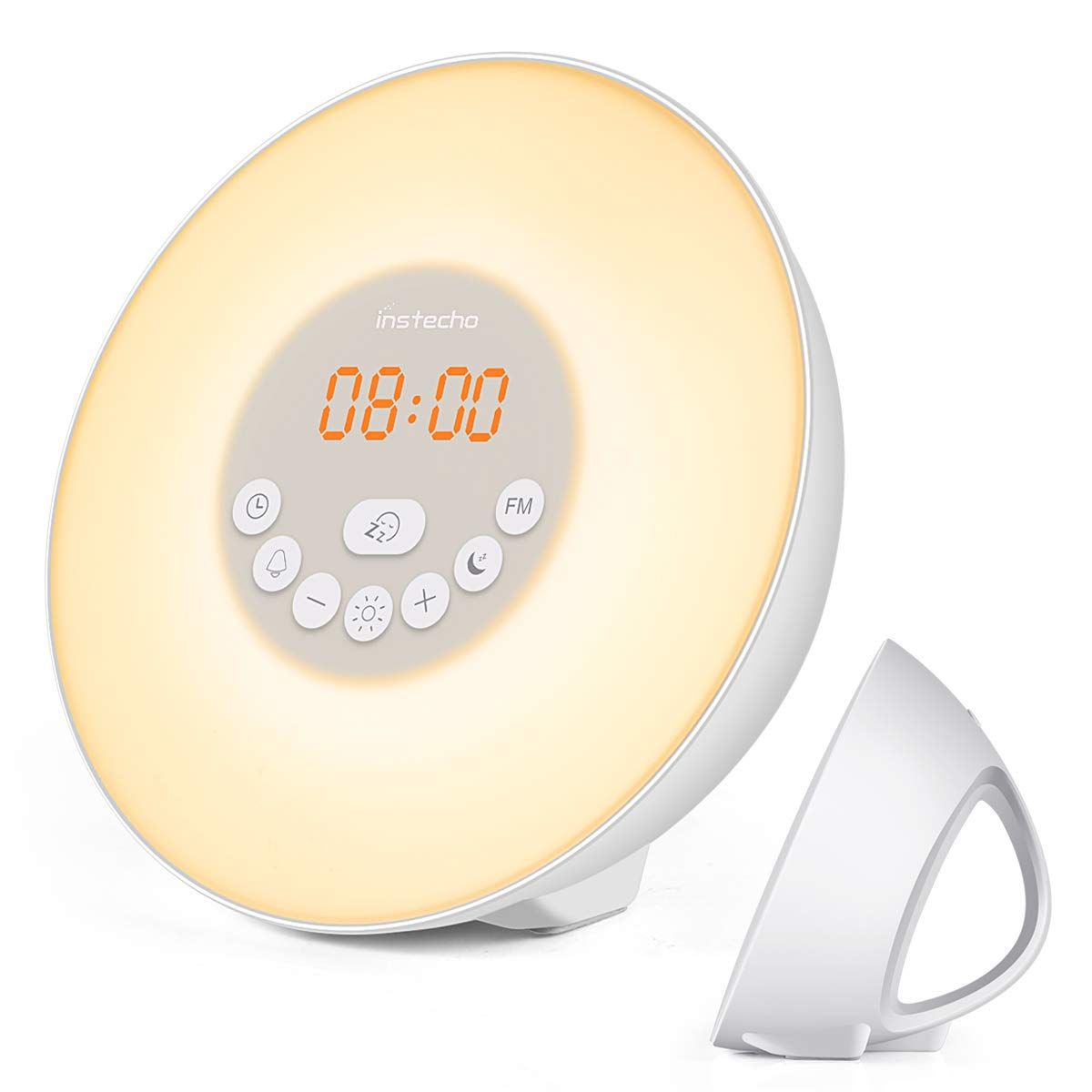 instecho Sunrise Alarm Clock, Digital Clock, Wake Up Light with 6 Nature Sounds, FM Radio and Touch Control (White) ...