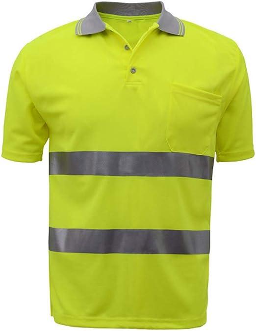 SFVest Camiseta de Trabajo Hombre Reflectante Alto Visible Camisa ...