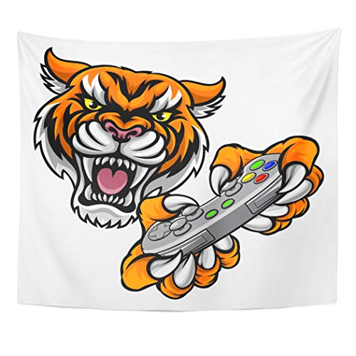 Semtomn Tapestry Wall Hanging Tiger Video Game Player Online Sports Gamer Animal Mascot 50