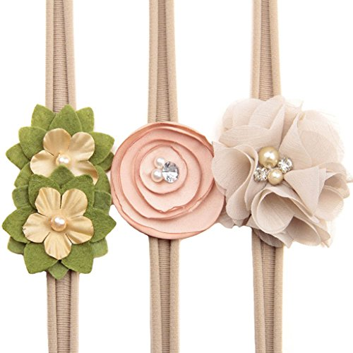 Bow–Stretch Headbands Elastic Nylon Floral Hair Band Set For Baby Toddler Girls (Khaki)