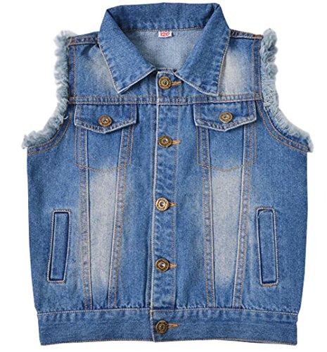 c92808e037c97 MYtodo Girls Lapel Vest Children Short Section Sleeveless Denim Jacket