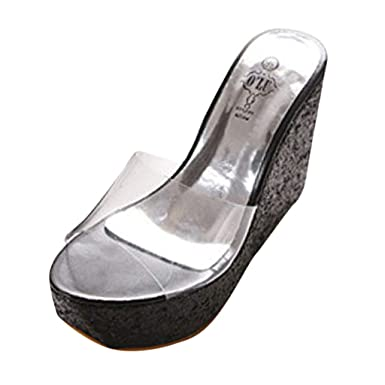 f4f583282a92b GoodLock Women Fashion Wedges Shoes Ladies Leisure Super High Heel Thick  Bottom Round Toe Shoes Transparent