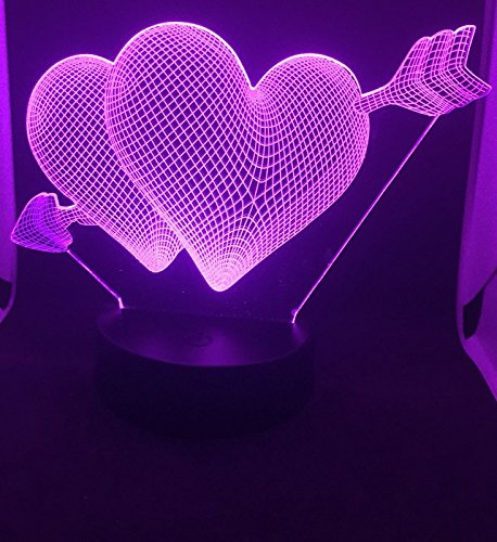 Pro Ear 2000 Mask (Valentine 3D illusion night light 2 HEARTs, 7 color changing)