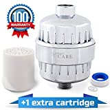 Shower Filter with 2 Replaceable Multi-Stage Filter Cartridges - Removes Chlorine and Harmful Substances - Prevents Hair and Skin Dryness - Additional Teflon Tape - Universal Output, Chrome