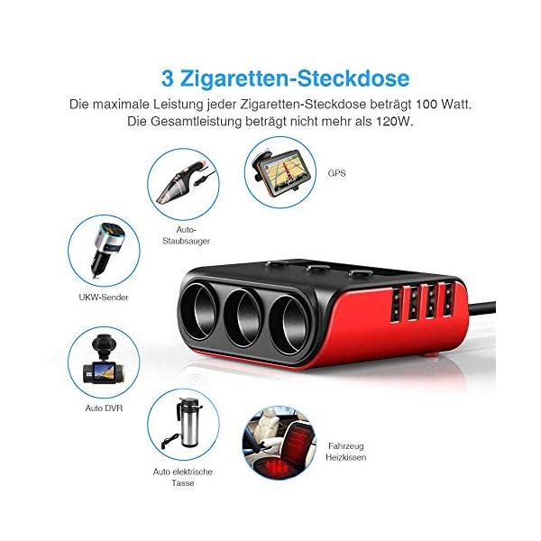 51WeF8k8zmL Auto Ladegerät Adapter, SONRU 3 Fach KFZ Zigarettenanzünder Verteiler mit 4 USB Ports, 120W 12V/24V DC Mehrfach…