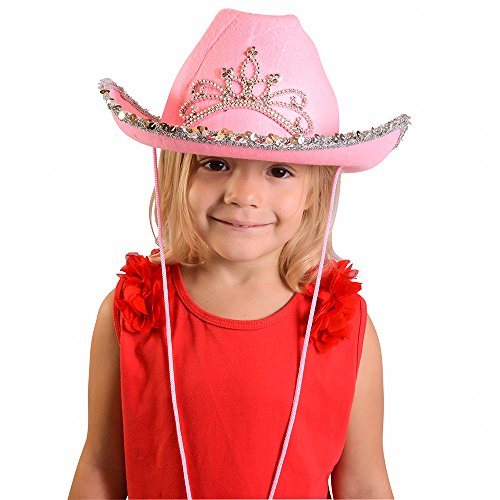 aa20a3afebb47 Funny Party Hats Pink Cowgirl Blinking Tiara Hat Children s - Import It All