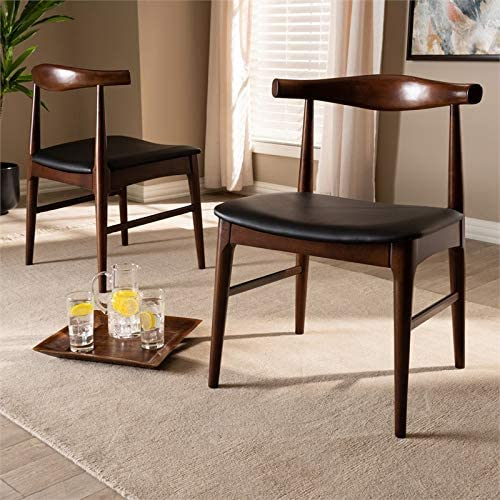 Baxton Studio Set of 2 Eira Black Faux Leather and Wood Dining Chair