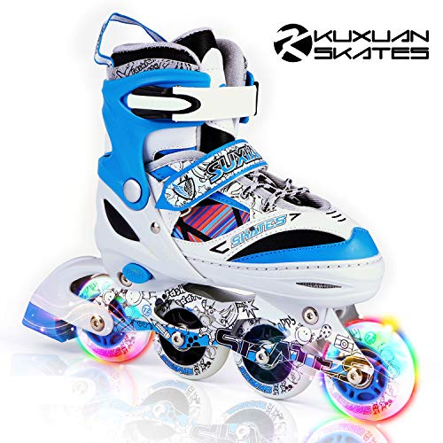 Kuxuan Kids Doodle Design Adjustable Inline Skates with Led Light up wheels, Comic Style Rollerblades for Boys and Girls - Blue S