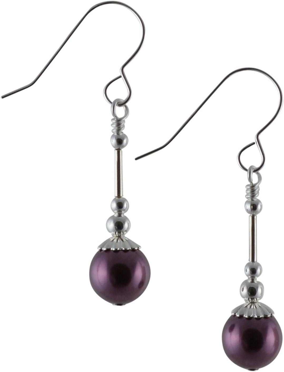 Pendientes de gota de plata de ley con perlas de cristal de Swarovski, color morado burdeos, con caja de regalo