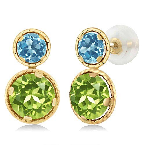 Gem Stone King 2.46 Ct Round Green Peridot Swiss Blue Topaz 14K Yellow Gold Earrings