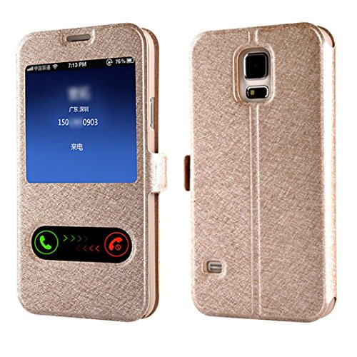 Window Leather Flip Case Cover Skin for Samsung Galaxy S5 G900 i9600 - 5